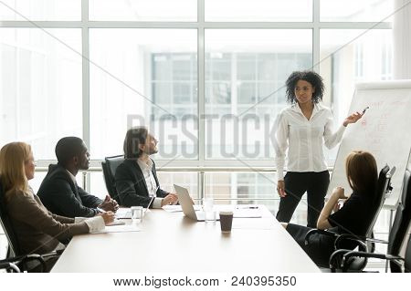 African American Businesswoman Giving Presentation To Executive Team In Meeting Room, Black Business