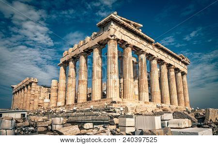 Beautiful Sunny View Of Parthenon On The Acropolis Of Athens, Greece. The Famous Ancient Greek Parth