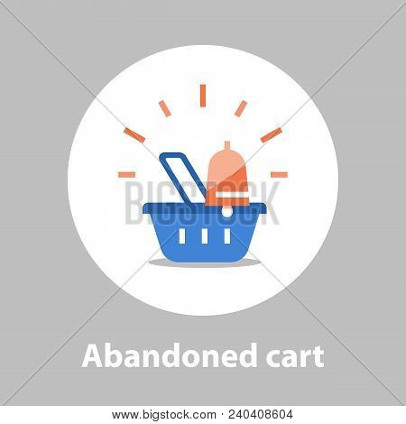 Shopping and marketing strategy, abandoned cart remainder, basket with bell, sales improvement, loyalty program, promotion offering, vector flat icon stock photo
