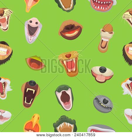 Animals mouth vector open jaw with teeth or fangs of roaring animals angry lion or cat and laughing bear with aggressive shark illustration set of animalistic beast seamless pattern background. stock photo