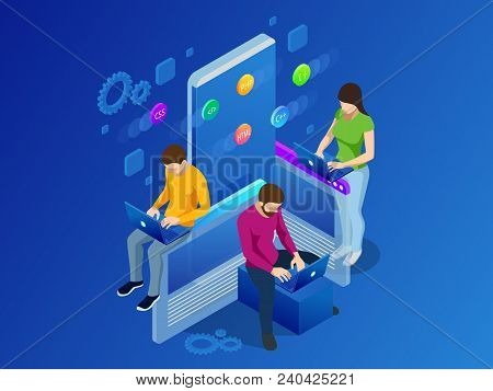 Isometric Mobile Applications concept. Developing programming and coding technologies concept. UX UI User Interface and User eXperience Process. stock photo