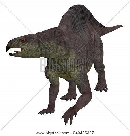 Lotosaurus Dinosaur on White 3D illustration - Lotosaurus adentis was a herbivorous poposauroid dinosaur that lived in China during the Triassic Period. stock photo