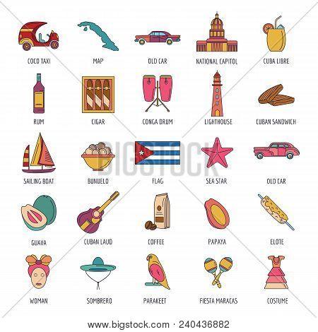 Cuba icon set. Cartoon Cuba set vector for web design isolated on white background stock photo