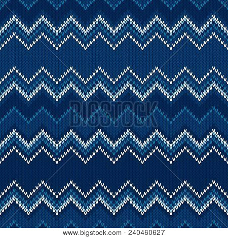 Chevron Abstract Knitted Sweater Pattern. Vector Seamless Background with Shades of Blue Colors. Wool Knit Texture Imitation. stock photo