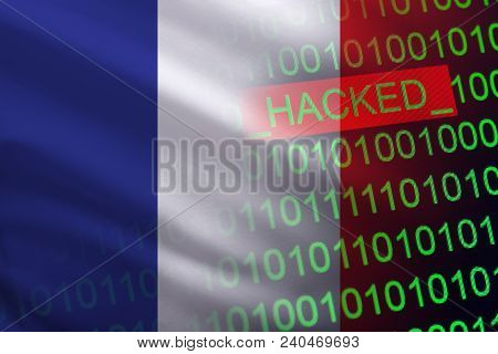 France hacked state security. Cyberattack on the financial and banking structure. Theft of secret information. On a background of a flag the binary code. stock photo
