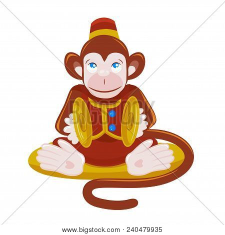 Colored vector illustration of monkey playing percussion hand cymbal sitting on the pillow. stock photo