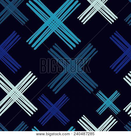 Seamless abstract geometric pattern. Texture with crosses. Manual hatching. Scribble texture. Textile rapport. stock photo