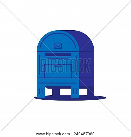 Big ground mail box with envelope sign and shadow. Blue mail box or postal service container. Flat style trendy vector illustration with volume. stock photo
