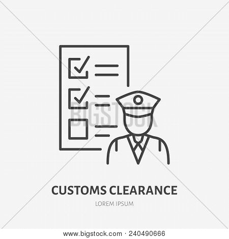 Customs clearance flat line icon. Policeman inspecting luggage sign. Thin linear logo for cargo trucking, freight services. stock photo