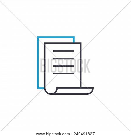 Brief report vector thin line stroke icon. Brief report outline illustration, linear sign, symbol isolated concept. stock photo
