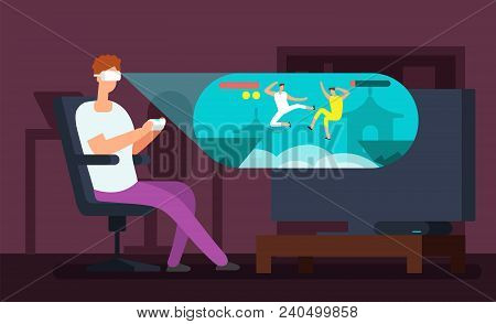 Man videogamer sitting in armchair and playing virtual game using vr headset vector illustration. Guy cartoon entertainment videogame in cyberspace stock photo