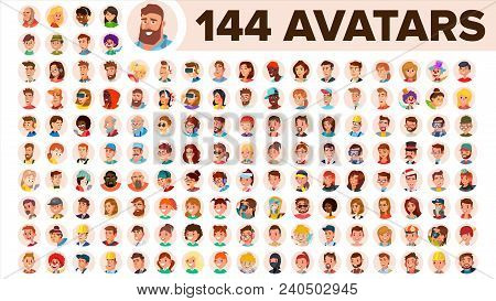 People Avatar Set Vector. Man, Woman. Default Placeholder. Colored Member. User Person. Expressive P