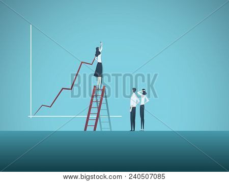 Business woman leader and teamwork vector concept. Businesswoman drawing growth chart, symbol of team cooperation, success, development, progress, strategy, planning. Eps10 vector illustration. stock photo