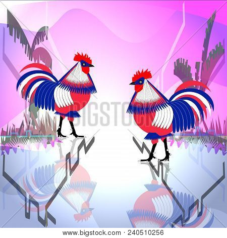 Vector illustration of two stylized bright three-colored chicken roosters on a bright background. The rooster is also a symbol of France. For catalogs, information and guides. stock photo