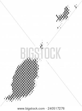 Demography Grenada map people. Population vector cartography abstraction of Grenada map constructed of men elements. Social scheme of national mass. Demographic abstract halftone map. stock photo