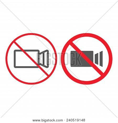 No filming line and glyph icon, prohibition and forbidden, no video sign vector graphics, a linear pattern on a white background, eps 10. stock photo
