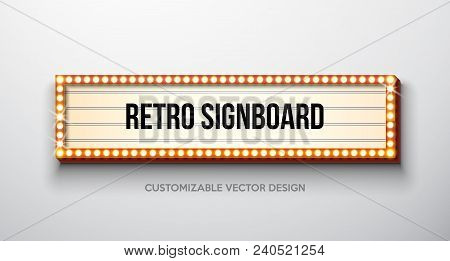 Vector Retro Signboard Or Lightbox Illustration With Customizable Design On Clean Background. Light