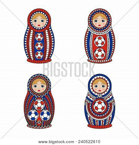 Matrioshka or nesting dolls set isolated on white background. Matroska is painted in national colors of Russia and has an ornament with football pattern. Vector illustration. stock photo