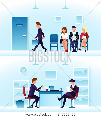 Businessmen, diverse employees waiting interview in row. Contender employee and interviewer sitting at desk on chairs. Recruitment and people management vector concept stock photo
