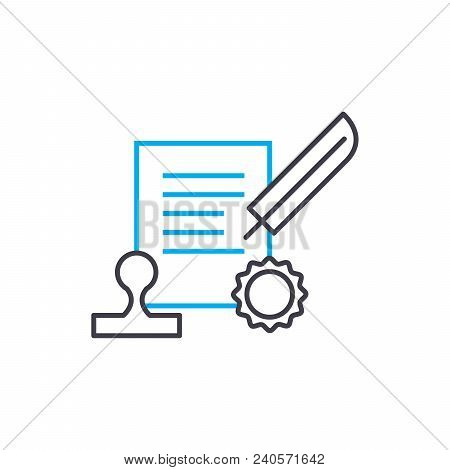 Conclusion of the contract vector thin line stroke icon. Conclusion of the contract outline illustration, linear sign, symbol isolated concept. stock photo