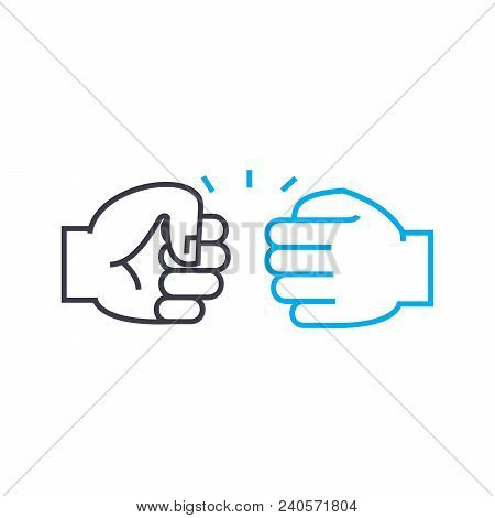 Conflict situation vector thin line stroke icon. Conflict situation outline illustration, linear sign, symbol isolated concept. stock photo
