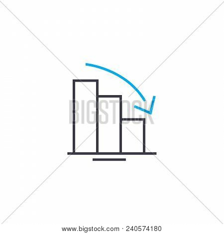 Downtrend chart vector thin line stroke icon. Downtrend chart outline illustration, linear sign, symbol isolated concept. stock photo