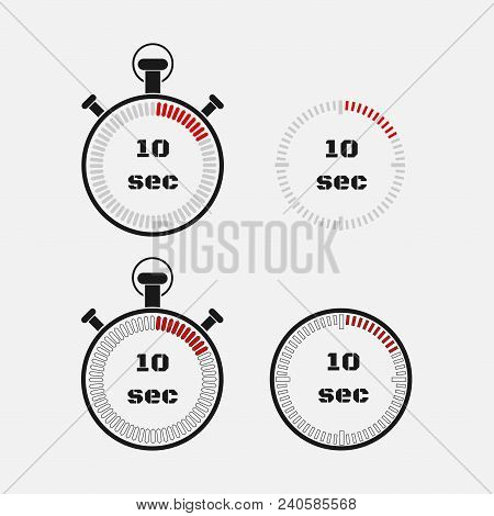 Timer 10 seconds on gray background . Stopwatch icon set. Timer icon. Time check. Seconds timer, seconds counter. Timing device.  Four options. EPS 10 vector. stock photo