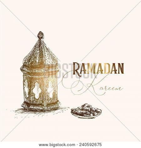 Greeting card, invitation for muslim holiday Ramadan Kareem. Hand drawn pen sketch of Arabic lantern and plate with date fruit. Iftar party design, artistic vector illustration. stock photo