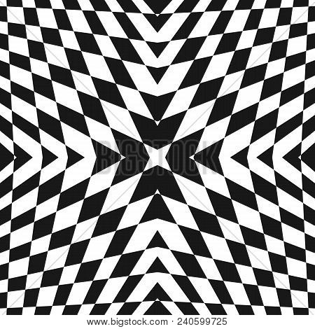 Vector geometric checkered pattern. Black and white seamless texture with cross shapes, rhombuses. Modern abstract monochrome background. Op art style ornament. Design for decoration, prints, covers. Ornamental pattern. Geometric pattern. stock photo