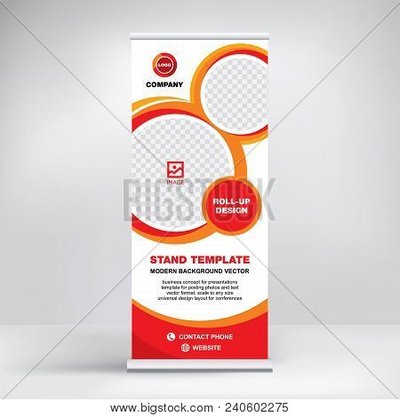 Roll-up banner template, advertising stand design for conferences, seminars, business presentations, modern graphic style, creative background stock photo