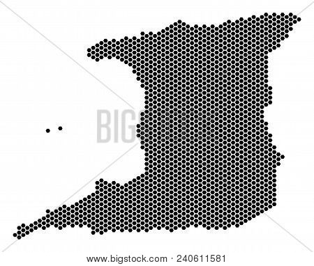Hex Tile Trinidad Island map. Vector geographic scheme on a white background. Abstract Trinidad Island map composition is designed of hex-tile pixels. stock photo