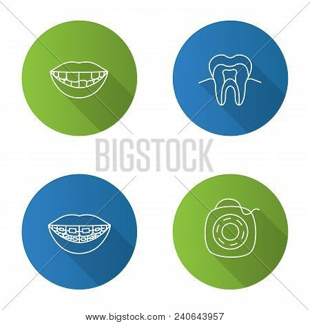 Dentistry flat linear long shadow icons set. Stomatology. Missing tooth, teeth structure, braces, dental floss. Vector outline illustration stock photo