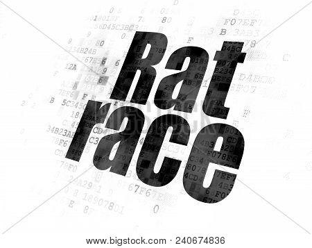 Finance concept: Pixelated black text Rat Race on Digital background stock photo