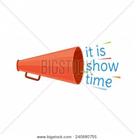 Circus show time program. Invitation to activity, event, loud show, presentation and opening. Banner, billboard with horn. Greeting, invitation to circus performance, poster. Illustration isolated stock photo