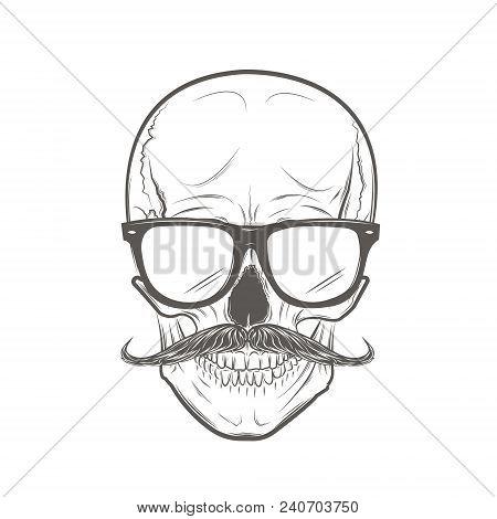 Hipster skull with mustache. Skull print, skull illustration isolated on white background. Vector mode stock photo