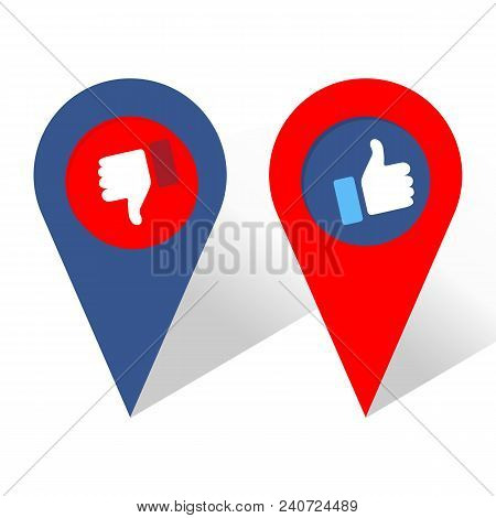 Like and Dislike Icon. Navigation icon. Thumbs Up and Thumb Down, Hand or Finger Illustration. Symbol of Positive and Negative. Rate Choice for Social Media, Web and Apps. Vector illustration stock photo