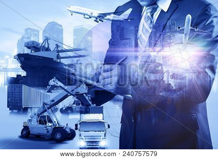 Double exposure Business Logistics concept, map global partner connection of Container Cargo freight ship for Logistic Import Export background for Concept of fast or instant shipping, Online goods orders worldwide stock photo