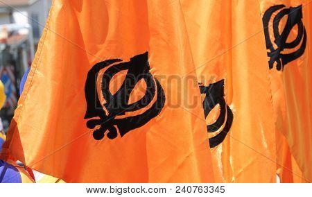 Many Orange Flags With Khanda Symbol Of Sikhism Photo Stock