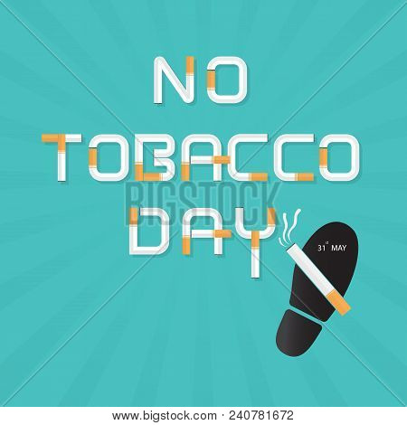 Shoe prints,foot prints and Quit Tobacco vector logo design template.May 31st World no tobacco day.No Smoking Day Awareness Idea Campaign.Vector illustration. stock photo