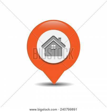 GPS map pointer with symbol house or place. For location map. Mark icon. Sign for gps navigation. Index location on map. Pointer location. Vector isolated ilustration. stock photo