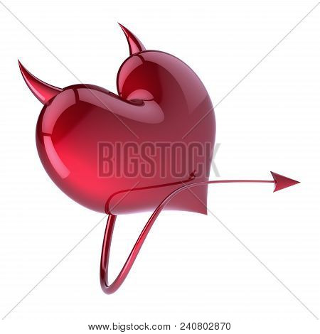 Devil heart shape red, fake love abstract, demon, evil, divorce symbol. Sexy lover concept with sharp horns and tail icon. Valentine's Day greeting card funny design element. 3d illustration stock photo