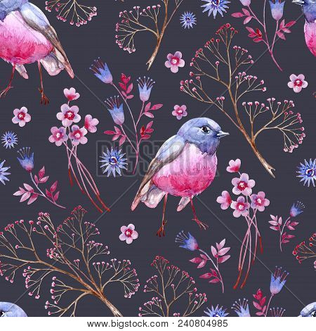 Watercolor seamless crimson and blue texture. Dark background. Clipart consist of berries, flowers, leaves, bird and branches. stock photo