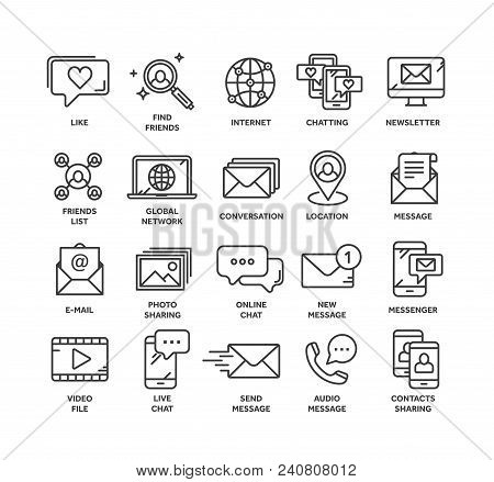 Communication. Social media. Online chatting. Phone call, app messenger. Mobile, smartphone. Computing.Email. Thin line black web icon set. Outline icons collection. Vector illustration. stock photo