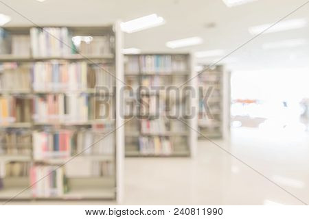 Blur school library or study room with book shelves for education background stock photo