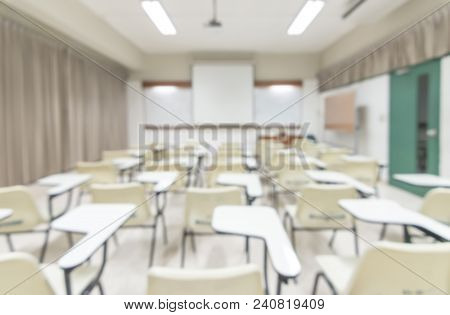 Blur Classroom Education Background Empty School Class Lecture Room Interior View With No Teacher No