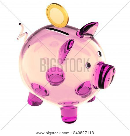 Piggy bank pink glass empty and golden coin. Saving money, donate, payment, banking, earning, finance icon concept. 3d illustration stock photo