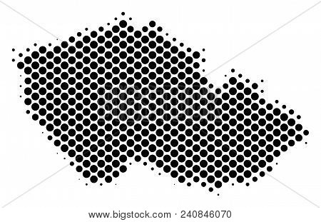 Abstract Czech map. Vector halftone geographical scheme. Cartographic dot abstraction. Schematic Czech map is done with regular circle element pattern. stock photo