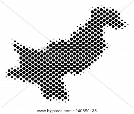 Abstract Pakistan map. Vector halftone geographical plan. Cartographic pixelated concept. Schematic Pakistan map is constructed from regular round item matrix. stock photo