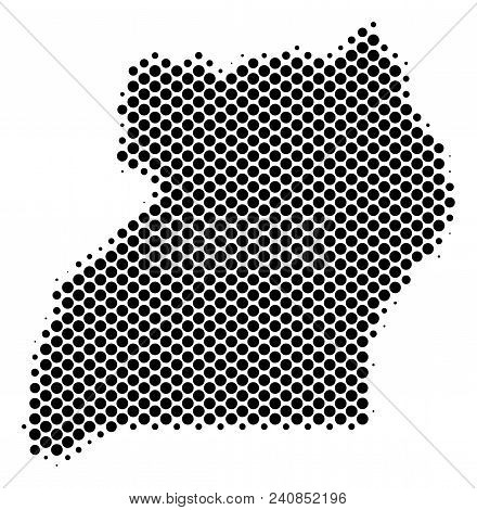 Abstract Uganda map. Vector halftone territorial scheme. Cartographic pixel abstraction. Schematic Uganda map is done of regular spheric point array. stock photo