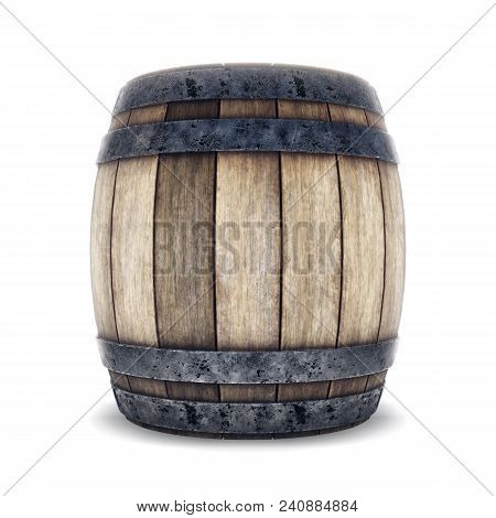 Wooden barrel with iron hoops isolated on white background. 3d rendering. Old barrel with rust on the hoops. Front view stock photo